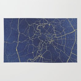 Rome Blue and Gold Street Map Rug