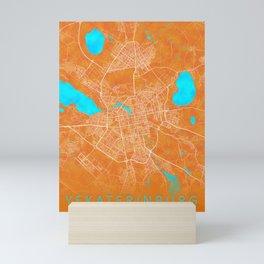 Yekaterinburg, Russia, Gold, Blue, City, Map Mini Art Print