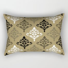 Cresta Damask Ptn Black White Bronzes Gold Rectangular Pillow