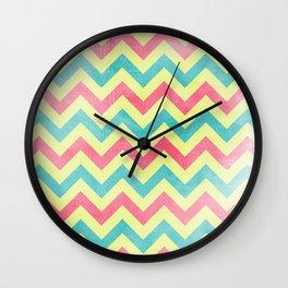 Lime pink aqua Chevron pattern distressed edges Wall Clock