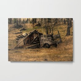 Visions Of The Past - Rustic Shed Metal Print
