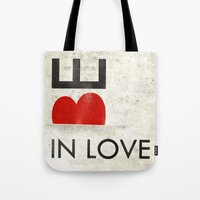 onesie Tote Bags featuring BE IN LOVE by Lulla