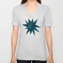 Starry Deep Blue Night Sky , Abstract Geometric Pattern with Moon Lit Domino Stars Unisex V-Neck