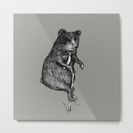 Ride On Bear_grey Metal Print