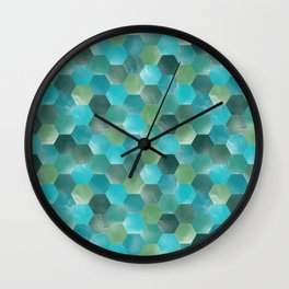 Mint blue and greens mosaic tile pattern Wall Clock