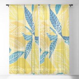 Lemon Tree / Abstract Fruit Art Sheer Curtain
