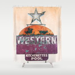 Vintage Neon Sign - The Western - Tucson Shower Curtain