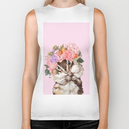 Baby Squirrel with Flowers Crown in Pink Biker Tank