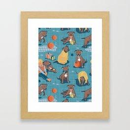 Memories of a Sweet Pit Bull Doggie Friend named Venice // blue linen texture background Framed Art Print