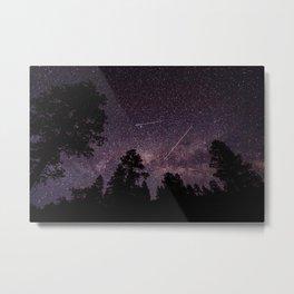 Busy Sky - Shooting Stars, Planes and Satellites in Colorado Night Sky Metal Print