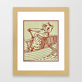 Cat Row Boating  - Louis Wain Cats Framed Art Print