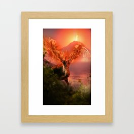 Deer on Fire by GEN Z Framed Art Print