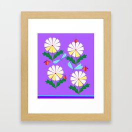 White Spring Daisies, Dragonflies, Lady Bugs lavender Framed Art Print