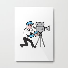 Cameraman Vintage Film Movie Camera Side Cartoon Metal Print