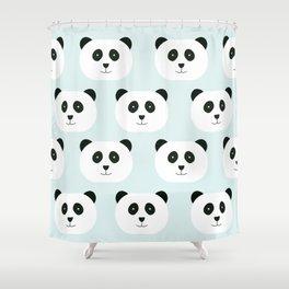Panda Love- Mint Blue Shower Curtain