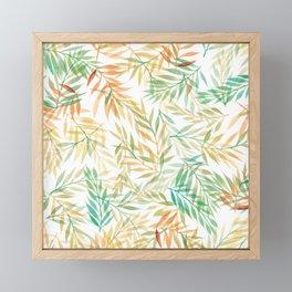 Watercolour Ferns   Mint and Coral Framed Mini Art Print