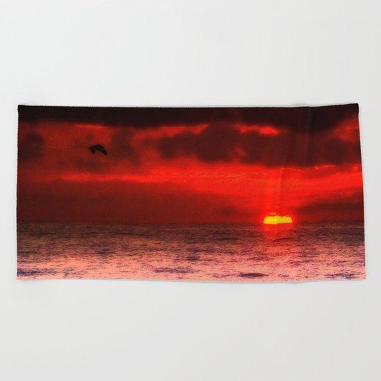 Pelican at Sunrise Beach Towel
