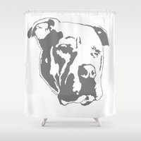 pitbull Shower Curtains featuring COACH - GREY by Kirk Scott