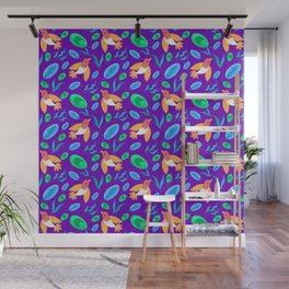Pretty beautiful cute little birds and green blue delicate leaves, plants purple seamless pattern. Wall Mural