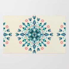 Watercolor Lotus Mandala in Teal & Salmon Pink Rug