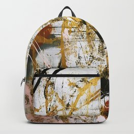 Armor [9]:a bright, interesting abstract piece in gold, pink, black and white Backpack