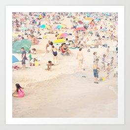 Beach Crowd Art Print