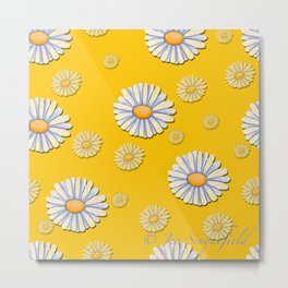 Tossed White Daisies Yellow Background Metal Print