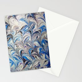 Blue Nonpareil Water Marbling Stationery Cards