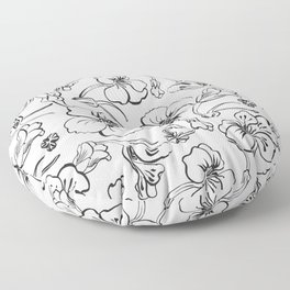 Bold seamless hand drawn floral pattern repeat motif with orange nasturtium flowers, Ink drawing. Floor Pillow