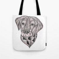 labrador Tote Bags featuring Chocolate Labrador by Lyn Symon AKA Dream Doodles