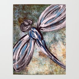 Rustic Dragonfly Art Poster