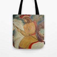 christ Tote Bags featuring Christ Triumphant by Neo Art Zone