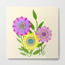 Three Fancy Flowers Metal Print