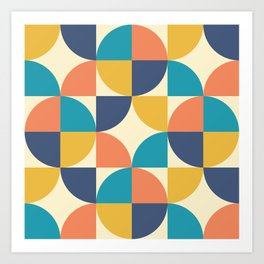 Mid Century Modern Geometric Pattern 444 Blue Yellow Orange Turquoise and Beige Art Print