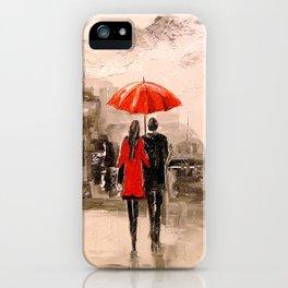 Walk in Paris rain iPhone Case