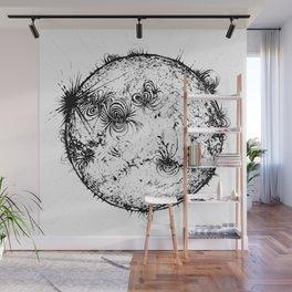 Large Sun Print, white & black solar design by Little Lark Wall Mural