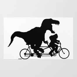 Gone Squatchin cycling with T-rex Rug