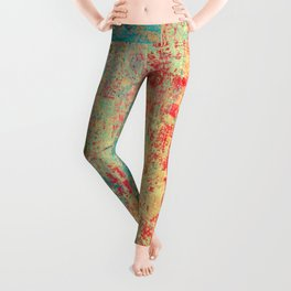 Brilliant Encounter, Abstract Art Turquoise Red Leggings