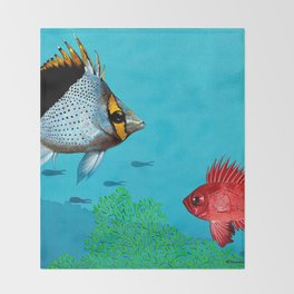 Butterfly & Bigeye fishes Throw Blanket