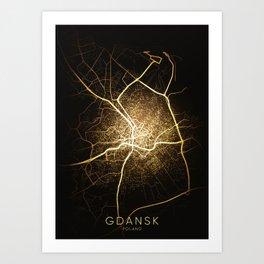 Gdańsk Poland city night light map Art Print