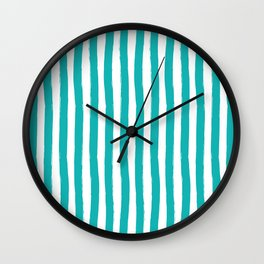 Turquoise and White Cabana Stripes Palm Beach Preppy Wall Clock