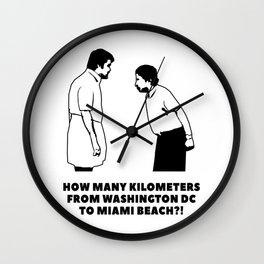 How many kilometers from Washington DC to Miami Beach Wall Clock