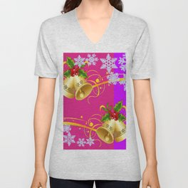COLORFUL HAPPY HOLIDAY BELLS & SNOWFLAKES ART Unisex V-Neck