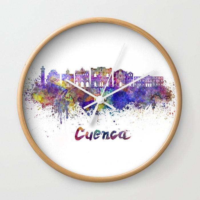 Cuenca skyline in watercolor Wall Clock