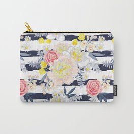 Peony bouquets striped Carry-All Pouch