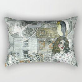 """A Woman in the Old Town"" Rectangular Pillow"
