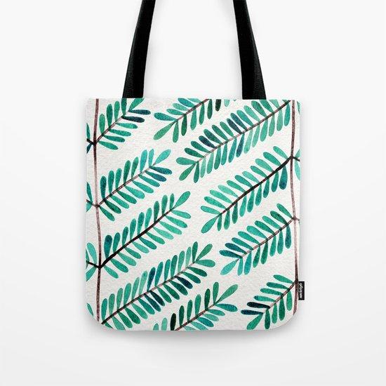 Turquoise Leaflets Tote Bag