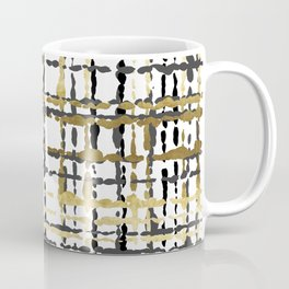 Black and Gold Loose Plaid Coffee Mug