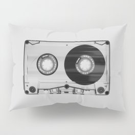 Vintage 80's Cassette - Black and White Retro Eighties Technology Art Print Wall Decor from 1980's Pillow Sham