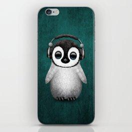 Cute Baby Penguin Dj Wearing Headphones on Blue iPhone Skin